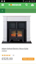 Adam Oxford Stove Suite with Woodhouse Electric Stove
