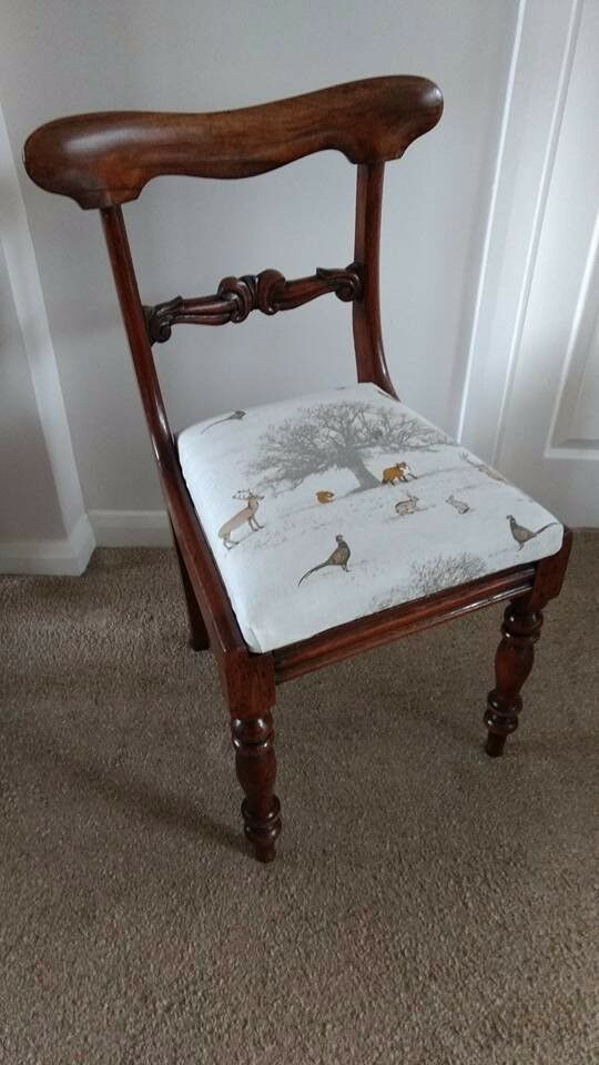 Antique Victorian Mahogany Chair- newly Re-upholstered.