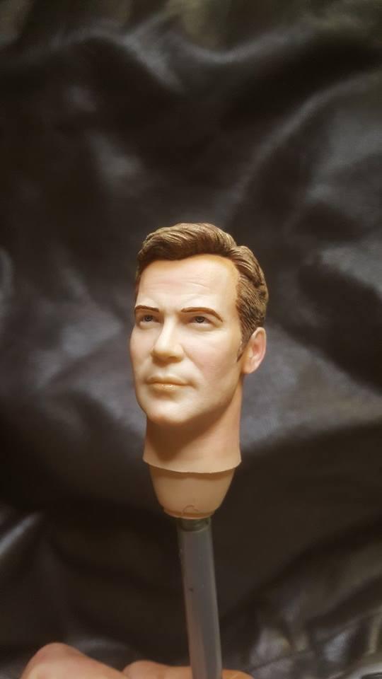 Custom painted star trek captain kirk head for 12 inch figur