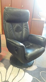 Leather recliner swivel chair