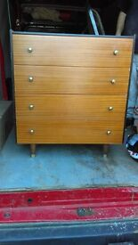 mid century large chest of drawers and bedsite table