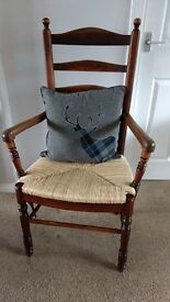 Country Rush Seat Ladder Back Armchair.
