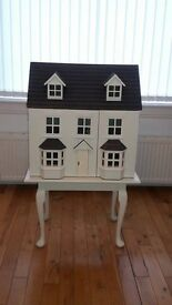 Dolls House and stand, Antique White