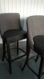 Brown leather and fabric stools x2