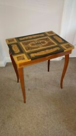 Vintage 1950's Italian Marquetry Jewellery / Sewing Box on legs.