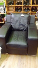 Large Black Leather Armchair