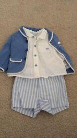 Boys 2-4 months summer shorts, shirt and cardigan set