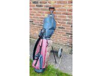 Slazenger Golf Bag, Wilson Clubs & Trolley Cart Bundle