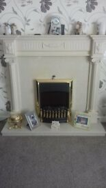 Marble and Wood Fire Surround + Mirror