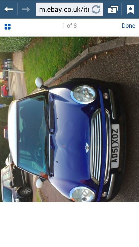 mini Cooper 1.6 for sale anual Blue with white roof . only 95 k on the clock no service history