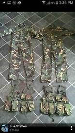 Kids army suits and assault vests