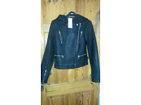 Tesco Hooded faux leather jacket brand new with tags size 8