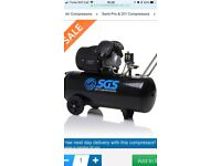 """100 Litre Air Compressor - 14.6CFM, 3HP with 17pcs 1/2"""" Air Impact Wrench Kit With Rubber Grip"""