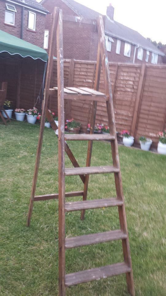 Vintage wooden ladder step ladder great for upcycle for Old wooden ladder projects