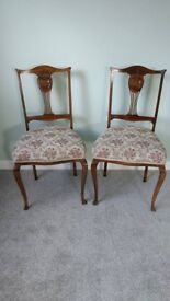 Antique Pair of Walnut Chairs.