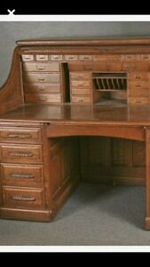 Solid oak roller desk 60 inches wide