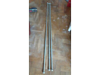 3 silver extendable curtain poles with rings and fittings
