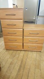Pair of chest of drawers. 1 small 1 large