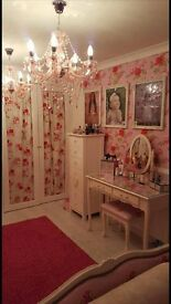 SHABBY CHIC DRESSING TABLE STALL AND 2 MATCHING BEDSIZE CABINETS