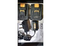 2x 1.5Ah Lithium-ion batteries & 60 minute charger,FOR USE WITH JCB 20V POWER TOOLS