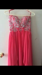 Pink beaded prom dress
