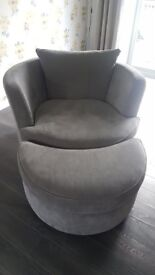 LARGE GREY FABRIC SWIVEL CHAIR AND FOOT STOOL