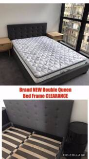 DOUBLE QUEEN Size BED FRAME BedHead Grey Fabric Upholstered New