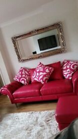Burlesque Leather Sofa - 3 seater - 2 seater and pouffe