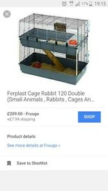 Rabbit indoor cage hutch 120. As new. Two story.