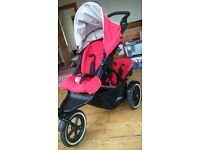 Phil & Teds Navigator Double Pushchair Cherry with brand new Stormcover