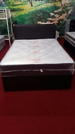 brand new snuggle tuft 4ft6 divan bed with mattress and headboard