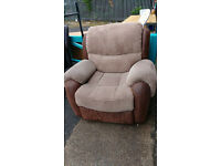 Suede Leather and Fabric Sofa Recliner Armchair