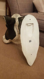 Large 3D Cows Head Decorative Wall Bust Cow Vintage Black Mosaic & Antique White