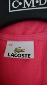 Pink Lacoste Unisex T-shirt Size: Small