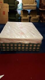 """double divan bed with brand new 8 & 1/2"""" thick mattress"""