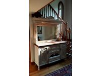 Painted 2-Part Victorian Mirror-Backed Sideboard