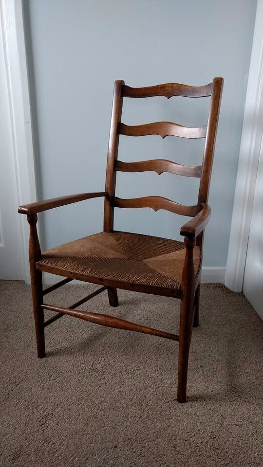 Antique Ladder Back Rush Seat Carver Country Chair In