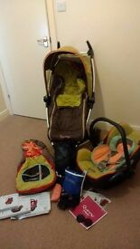 Quinny Zapp Pram and MaxiCosi Cabriofix Carseat (in Breen), all accessories