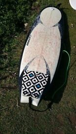 """Bunty Surfboard 6'4, 23"""",3"""", leash FC's fins and FC's board bag included"""