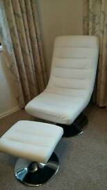 Off white swivel chair & stool