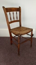Antique Rush and Oak Chair