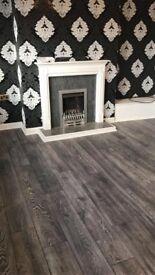 8mm grey and charcoal laminate flooring bundle 5x4 £320