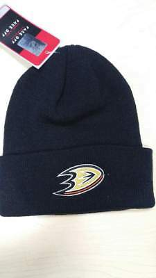 Reebok NHL Anaheim Ducks Team Logo Classic Black Cuffed Knit Beanie Hat Cap Black Classic Knit Beanie
