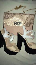Black/white/pink heels & bag
