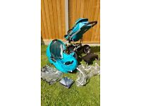 Quinny Buzz with lots of extras including isofix base a maxi cosy cabriofix infant car seat.