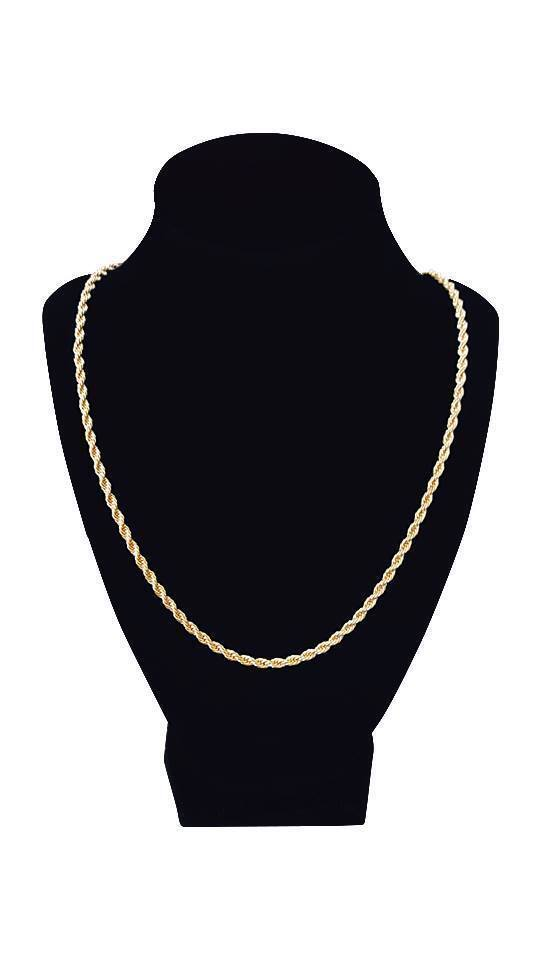 14k Gold plated rope chain men's women's 24