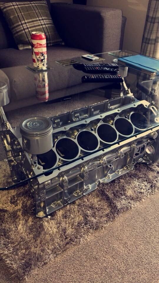 Jaguar V12 Engine Coffee Table With Remote Led Lighting
