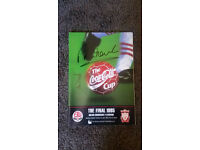 Retro Liverpool 1995 Signed home shirt and Program by Rush and Fowler