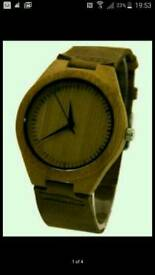 Fashion men's watch made from real bamboo wood