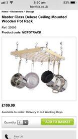 Wooden Hanging Pan Rack